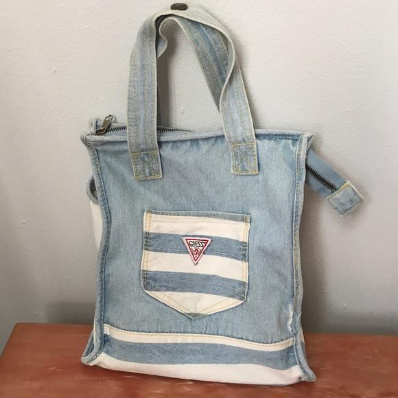 c0a282fe93 Guess Handbags - Vintage Guess Denim Tote Bag Purse